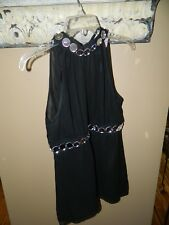 Michael Kors 100% Silk Sleeveless Halter Blouse Black Mirror Accents Size 8