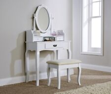 Dressing Table Set Antique Style White Padded Dresser Stool Oval Mirror SECONDS