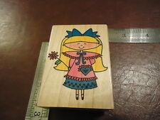CUTE LITTLE FLOWER GIRL RUBBER STAMP SPRING TIME POCKET FULL OF LOVE BIRTHDAY