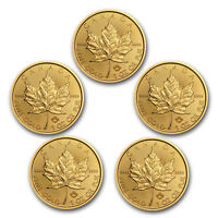 Bank Wire Payment. 2018 Canada 1 oz Gold Maple Leaf BU (Lot of 5)