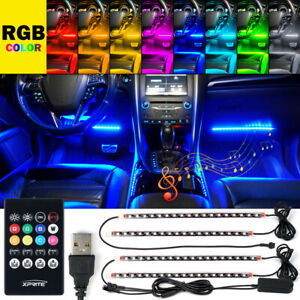 """4x 12.8""""in RGB LED Strip Car Interior Atmosphere Neon Lights Kit Remote Control"""