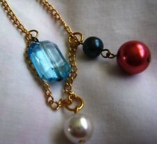 """Vtage 10"""" anklet gold tone chain,Faux Pearl & Topaz Blue Crystal charms gift Box"""