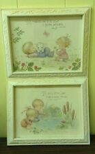 "Vtg Dbgci Homco White Resin Framed Set Children Nature Psalms 13""X 10.5"" Each"