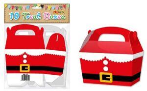 10 Santa Suit Treat Boxes - Christmas Gift Party Kids Cupcake Xmas Wrapping Bag