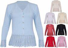 Hüftlange Damen-Strickjacken aus Acryl mit V-Ausschnitt