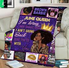 June Queen Fleece Blanket Gift For Black Girl Birthday June