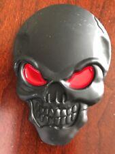 Set - 2 Car Auto 3D Emblem Sticker Decal Skull Head Matte Black Red Interior Ext