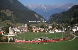 ORIGINAL 35MM OBB SWISS SWITZERLAND RAILWAY SLIDE - LOCO 610 BURGUN 2003