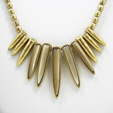 Lucky Brand Sun Ray Necklace Stone Spikes Gold Tone Beads Adjustable Chain