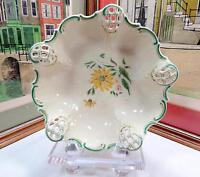 "ROSENTHAL SIGNED DAISY GREEN&GOLD PIERCED MOLIERE 8 7/8"" LARGE 3 FOOTED BOWL"