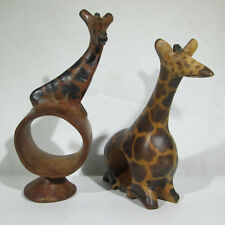 2 Vintage Wood Giraffe Napkin Rings Both Different Hand Carved and Painted