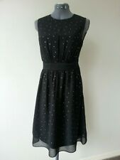 NWT ESPRIT BLACK WITH GOLD SPOTS COCKTAIL EVENING PARTY FLARE DRESS SIZE 8