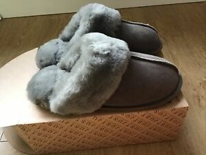 JUST ladies Taupe Duchess sheepskin slippers Boxed fit UK 7-8 BNWT RRP £65