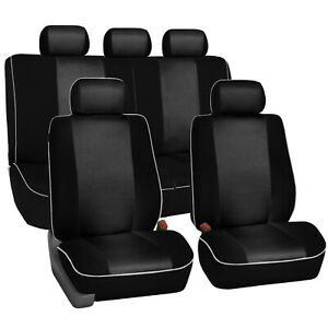 Black Car Seat Covers with Piping Full Set Airbag & Split Ready 2 Row Set