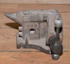 "Rare antique J. Allen vise & anvil 2"" jaw jeweler forge tool 1881 Palmyra NY"