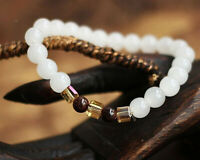 Natural White Chalcedony Bracelet Bangle 7mm Round Beads Women Fashion Jewelry