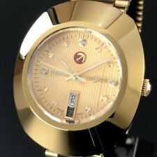 RADO Watch DIASTAR 648.0413.3   Automatic 18K Gold Plated Day Date   T2758