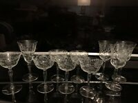 Vintage Etched Flowers & Leaves Wine / Champagne Glasses Set Of 10 Lot