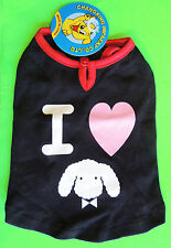 Canine T-Shirt I LOVE POODLES (Heart/Face) X-Small Petite Toy Dog Black Red New