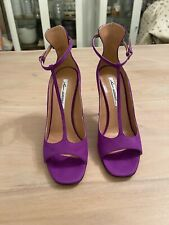 Brian Atwood Purple Suede T-Strap Sexy High Heel Sandals, New, Womens Sz. 38.5