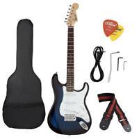 Hot Beginner ST Electric Guitar Blue W/ Gig Bag Picks Strap Full Accessories Kit