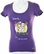 LIU JO Womens Graphic T-Shirt Top Size 6 XS Purple Cotton  LD25
