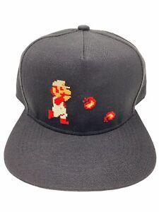 Super Mario Bros. Snapback Hat Black Flat Bill Trucker Baseball Cap Adjustable