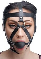 Leather HEAD HARNESS BALL MOUTH GAG slave costume face strap mask prisoner black