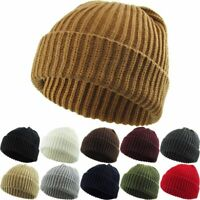 Thick Ribbed Beanie Knit Ski Cap Skull Hat Winter Cuff Blank - Kbethos