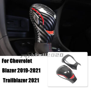 For Chevrolet Blazer 2019-2021 Carbon Fiber ABS Inner Gear Shift Knob Cover Trim