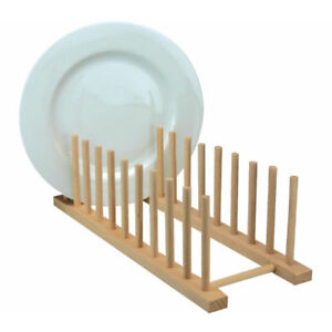 Wooden Kitchen Sink Dish Drainer Sturdy Wood Plate Cups Drying Stand Rack Long L