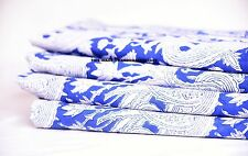 5 Yards Blue Hand Block Print Handmade Indian Cotton Fabric Natural Jaipuri