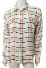 Ryan Michael Womens M Medium Pink Green White Plaid Western Shirt Linen Snap EUC
