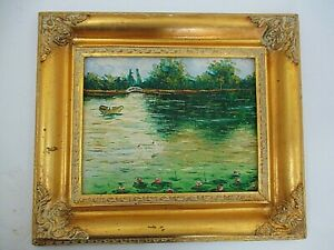 Framed Oil Painting Lady in Boat Swans Lily Pads Landscape Gold Ornate Frame
