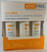 Acne Free 3 Step 24 Hr Acne Treatment Kit Benzoyl Peroxide Oil-Free Face Wash
