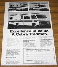 1977 VINTAGE AD~COBRA MOTOR HOMES & MINI-HOMES~ELKHART,IN