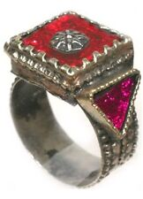 "19thC Russian Black Sea Crimean Tatars Intricate Silver ""Gemstone"" Ring Size 8½"