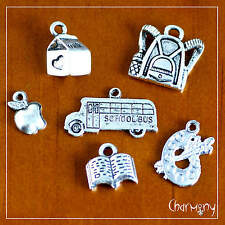 School charms ~set of 6~ bus apple backpack paint book Tibetan silver student