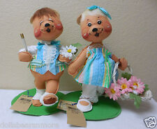 "NWT 1996 Annalee 10"" ""Easter Parade Girl & Boy Bears"" Set #0940 & 0941 B"