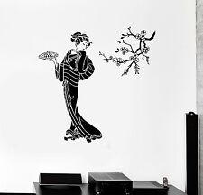 Vinyl Wall Decal Geisha with Sushi Sakura Asian Food Stickers (ig4490)