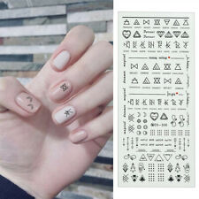 Nail Water Decals Transfers Stickers Geometry Heart Letter DIY Tips Nails Decor