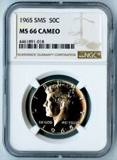 1965 SMS NGC MS66 CAMEO SILVER KENNEDY HALF DOLLAR 50C! NGC PRICE GUIDE=$235!