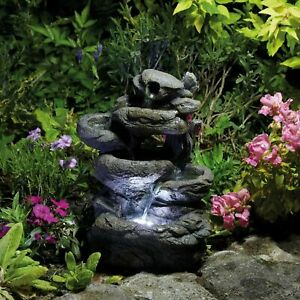 Serenity Rock Water Feature Garden Cascading LED Indoor Outdoor Ornament 33cm 3S