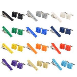 LEGO BRICK Novelty Cufflinks and Tie Pin Slide Clip Set Ideal Wedding Mens Gift