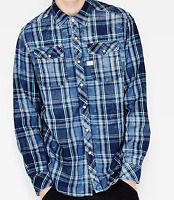 G-Star Raw Indigo Miami Green UK Mens Extra Small Shirt Checkered *ref56