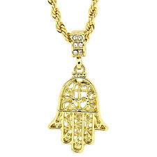 "Men's 14K Gold Plated Hamsa Hand Pendant Hip Hop 4mm/24"" Rope Chain pendant"