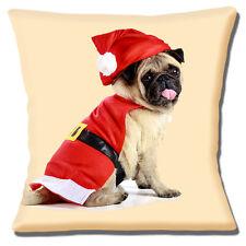 Carino Fawn Pug indossare SANTA Rosso Cappotto Cappello di Natale Foto 16 Cuscino Coprire