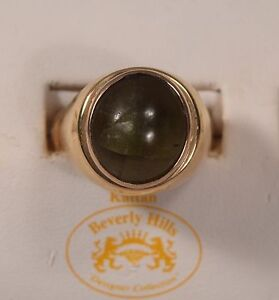 Rare Brown Star Agate Cabochon Man's 14K Gold Ring Size 13-1/2
