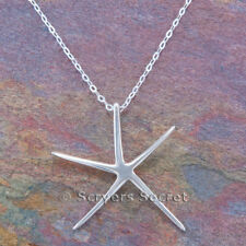 """STARFISH Necklace Charm Pendant star fish Nautical sterling silver 925 18"""" chain"""