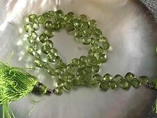 "Beautiful Apple Green Peridot Heart Briolette Bead 10"" Temporary Strand"